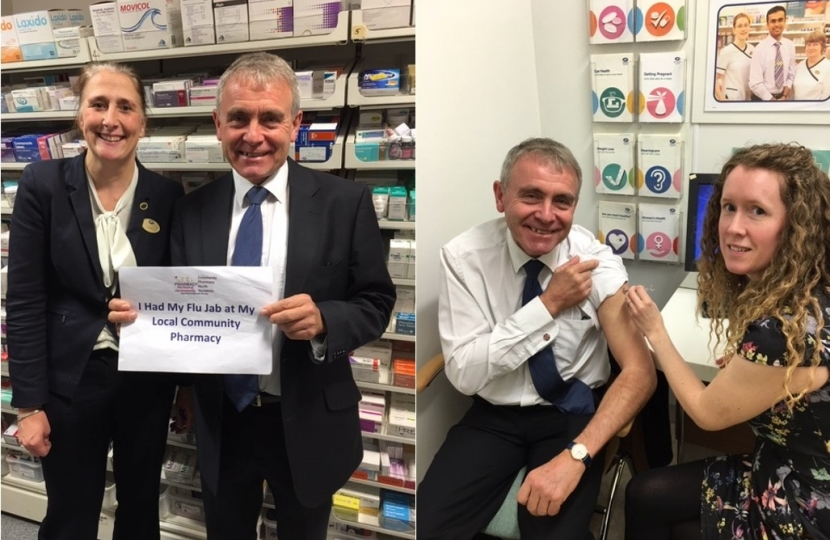 LOCAL MP ROBERT GOODWILL (SCARBORIUGH AND WHITBY) VISITS LOCAL PHARMACY AS THE NATIONAL PHARMACY FLU VACCINATION SERVICE GETS UNDERWAY